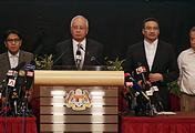 Malaysian Prime Minister Najib Razak at a press conference