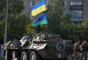 Ukrainian army soldiers in Sloviansk
