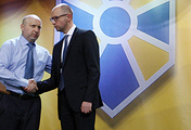 Oleksandr Turchynov (left) and Arseniy Yatsenyuk