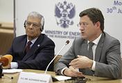 OPEC Secretary-General Abdallah el-Badri and Russia's Energy Minister Alexander Novak