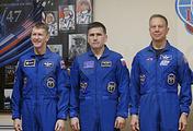 Timothy Peake of Britain, Russian cosmonaut Yuri Malenchenko, and US NASA astronaut Timothy Kopra