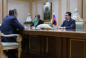 Russian Foreign Minister Sergey Lavrov at the meeting with Turkmenistan's President Gurbanguly Berdimuhamedow