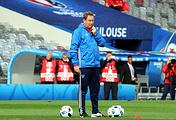 Russia's national team's Head Coach Leonid Slutsky