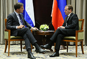Dutch and Russian prime ministers, Mark Rutte and Dmitry Medvedev