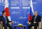 Japanese Prime Minister Shinzo and Russian President Vladimir Putin