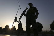 Afghan security forces stand guard in Kabul
