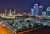 The city of Grozny at night