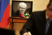 A portait of Vitaly Churkin, Russia's ambassador to the UN at the Russian Mission to the UN in New York