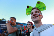 Chile's fans watch a live broadcast of the 2017 FIFA Confederations Cup final football match between Chile and Germany at the Host City Fan Zone in Saint Petersburg