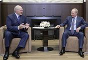 Belarusian President Alexander Lukashenko with Russian leader Vladimir Putin