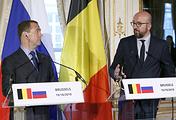 Russian Prime Minister Dmitry Medvedev and Belgian Prime Minister Charles Michel