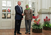 Russian President Vladimir Putin and Singapore's President Halimah Yacob