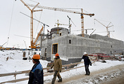 A view of the first Belarusian nuclear power plant, currently being built by Rosatom