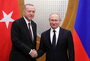Turkish President Recep Tayyip Erdogan and Russian President Vladimir Putin during their meeting in Sochi, February 2019