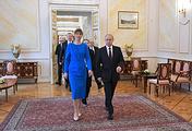 Estonian President Kersti Kaljulaid and Russian President Vladimir Putin