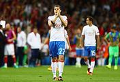 Футболист сборной России Артем Дзюба (на первом плане) после вылета команды с Евро-2016