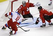 Эпизод полуфинального матча Кубка мира по хоккею между сборными Канады и России