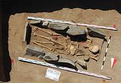 Погребение хунну (гуннов) - кочевого народа, жившего в степях к северу от Китая в I веке до н.э. - II веке н.э