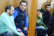 Фигуранты по делу об убийстве политика Б.Немцова Хамзат Бахаев, Тамерлан Эскерханов, Шадид Губашев и Анзор Губашев (слева направо