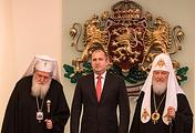 Патриарх Кирилл и Патриарх Болгарский Неофит на встрече с президентом Болгарии Руменом Радевым
