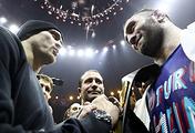 Украинец Александр Усик и российский боксер Мурат Гассиев (слева направо)