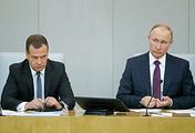 Исполняющий обязанности премьер-министра РФ Дмитрий Медведев и президент России Владимир Путин