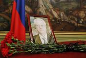 Траурный портрет постпреда России при ООН Виталия Чуркина в особняке МИД РФ