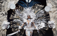 Miss El Salvador Marisela de Montecristo poses in her national costume during the Miss Universe 2018 national costume contest at Nongnooch International Convention and Exhibition Center in Pattaya, December 10