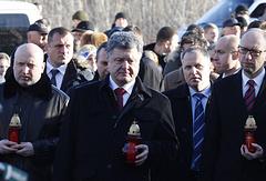 Left to right: Verkhovna Rada Speaker Oleksandr Turchynov, President Petro Poroshenko, PM Arseniy Yatsenyuk