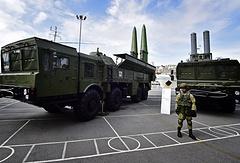 Iskander-M guided missile system and a Bastion coastal defence missile system