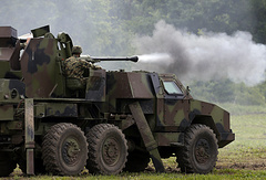Serbian army soldiers perform during exercise