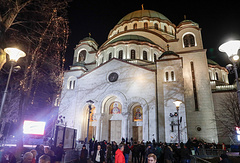 A view of the Church of Saint Sava