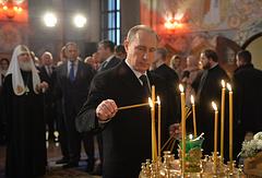 Президент РФ Владимир Путин во время посещения восстановленного храма Святого Преподобного Сергия Радонежского в Царском Селе