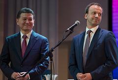 Президент Международной федерации шахмат Кирсан Илюмжинов и вице-премьер РФ Аркадий Дворкович (слева направо)