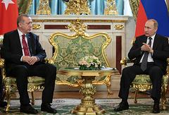 Президент Турции Реджеп Тайип Эрдоган и президент России Владимир Путин во время встречи в Кремле