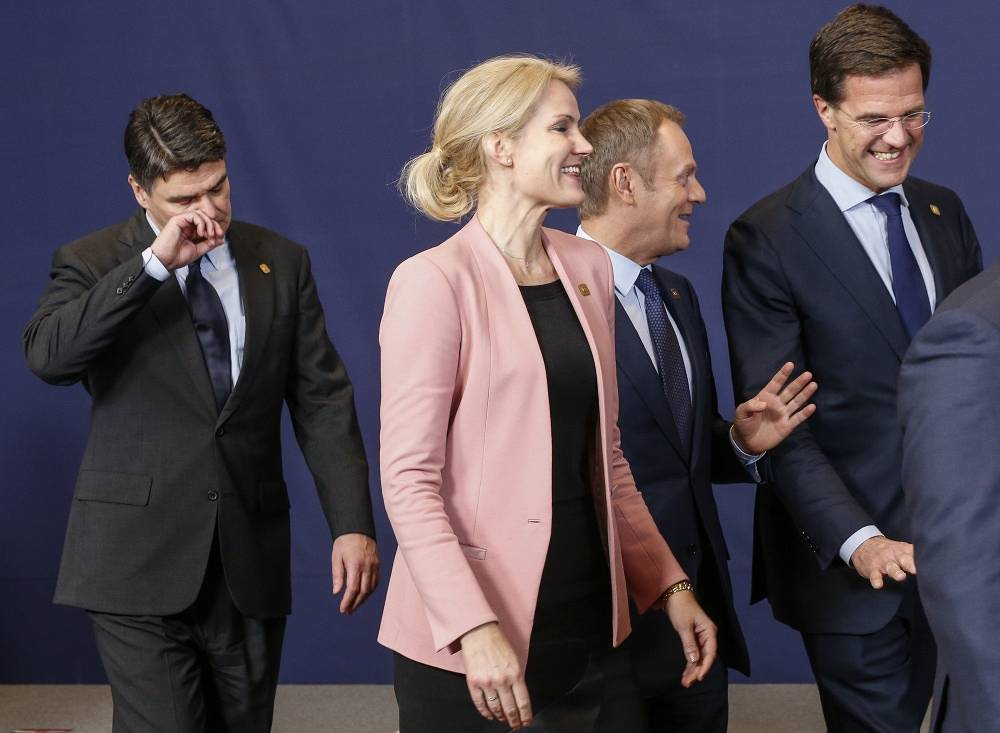(L-R) Croatian Prime Minister Zoran Milanovic, head of Danish Government Helle Thorning-Schmitt, Prime Minister Donald Tusk, Prime Minister of the Netherlands Mark Rutte
