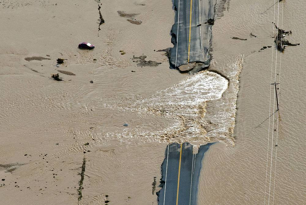 Aftermath of a powerful flood in Colorado, caused by heavy showers. Six people died, over 1200 were declared missing. September 14, 2013.