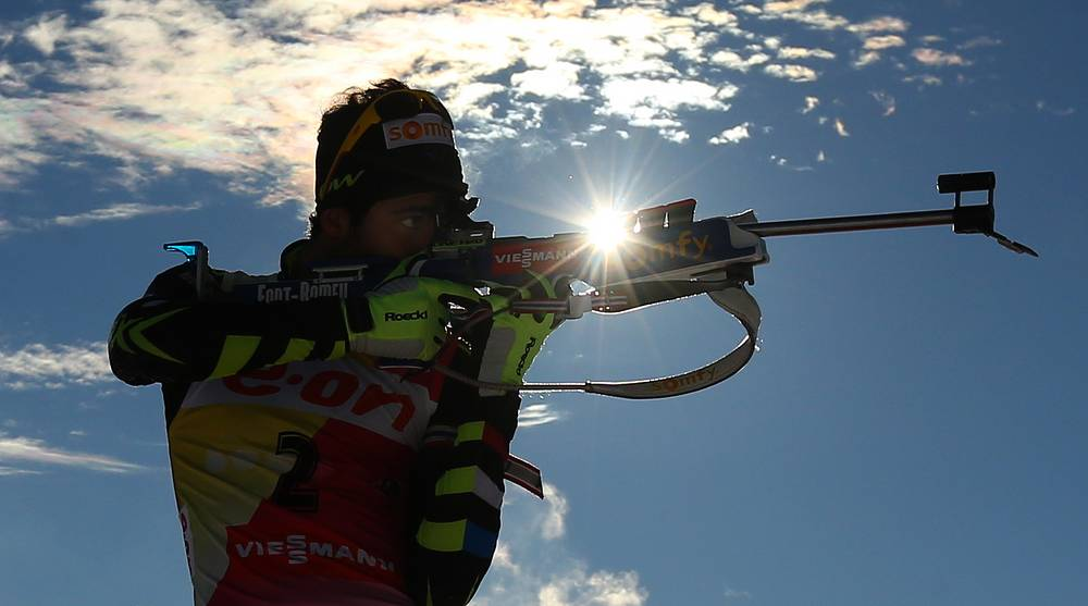 French biathlon competitor Martin Fourcade during pursuit race at the second state of the Biathlon World Cup. December 8, 2013.