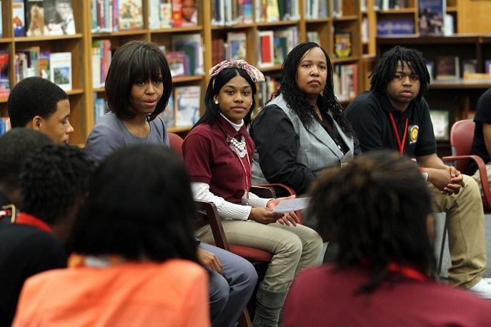 Michelle Obama is concerned with increasing access to higher education, especially for children from underprivileged families