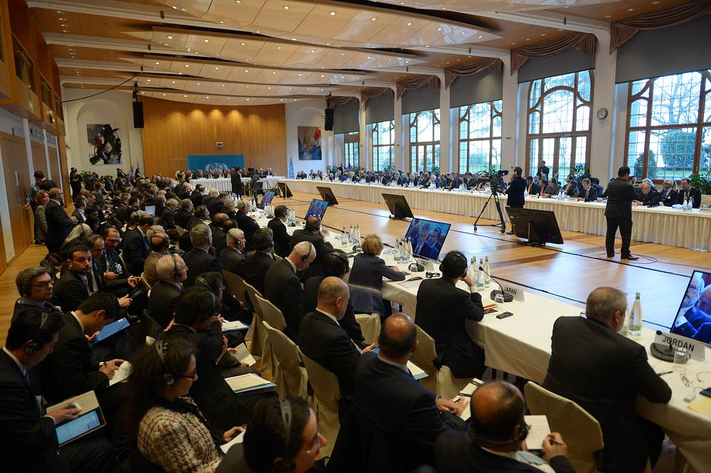 A general view of the opening of the the so-called Geneva II peace talks in Montreux