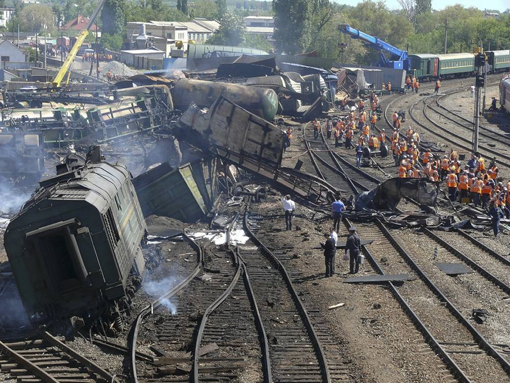 A freight train with 50 tankers carrying fuel derailed May 9, 2013 in southern Russia. The derailment set off a huge fire that left one person missing and 27 injured