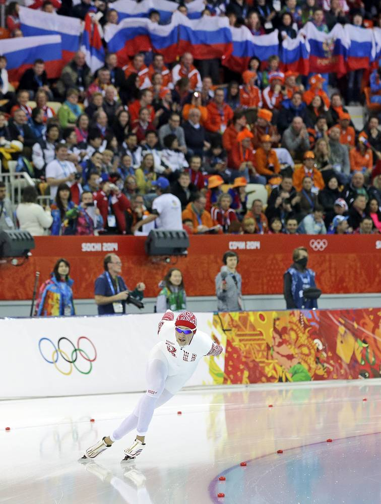 Russia's Denis Yuskov competes in the men's 5,000-meter speedskating race