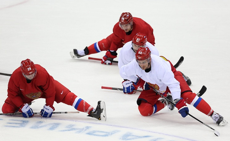 Russian hockey players Andrei Yemelin, Andrei Markov, Fyodor Tyutin and Artyom Anisimov (from left to right)