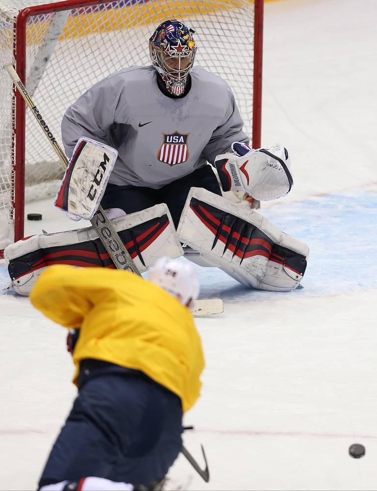 US hockey squad during training session, Tuesday Feb. 11