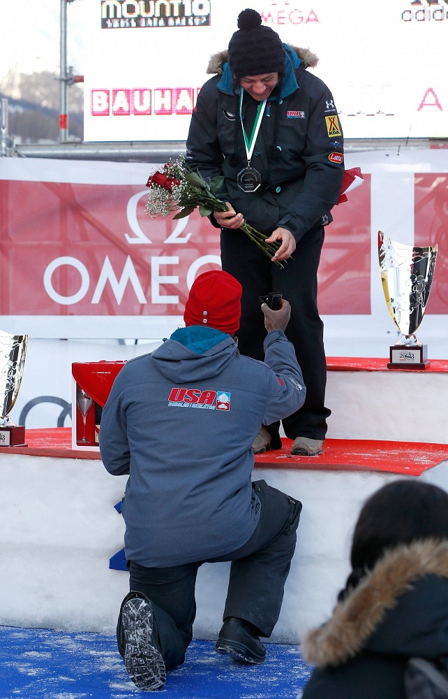 American bobsledder Nick Taylor proposed to his teammate Elana Meyers at the World Championships in Switzerland. She said yes