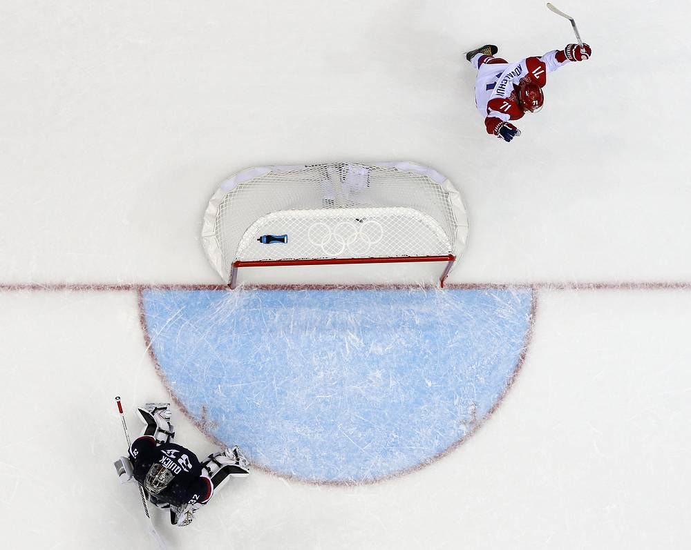 Ilya Kovalchuk (R) of Russia celebrates a goal which was later disallowed