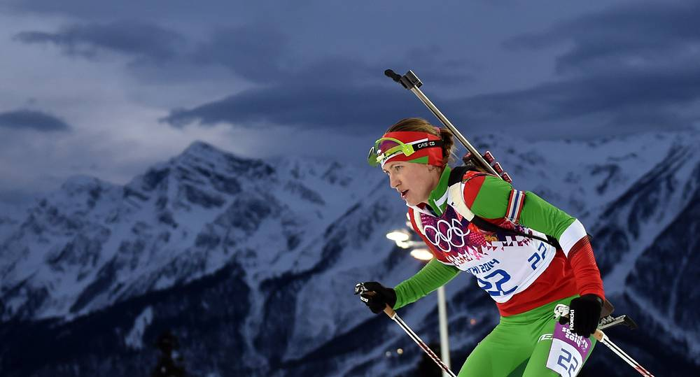 Belorussian biathlete Darya Domracheva at 2014 Sochi Winter Olympics