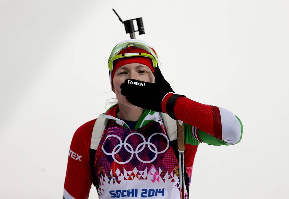 Darya Domracheva won women's 10km pursuit on February 11