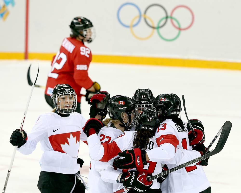 Canadian women's ice hockey team defeated Switzerland in semi-finals