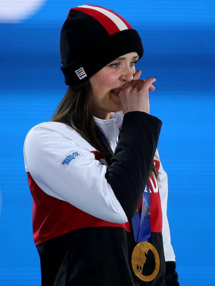 It can be hard to kkeep the tears. Gold medalist Marielle Thompson of Canada